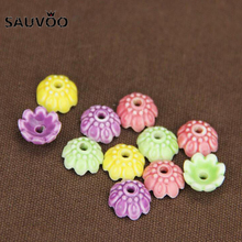 SAUVOO 10Pcs/lot 10mm Glazed Flower Porcelain Beads Cap End Caps Porcelain Spacer Beads For DIY Jewelry Making Materials