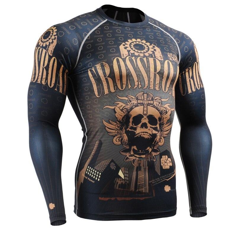 Voll Drucke Männer Compression Engen T shirts für Running Training MMA GYM Verbrauchsteuern & Fitness Long Sleeves Top Shirt Crossfit - 5
