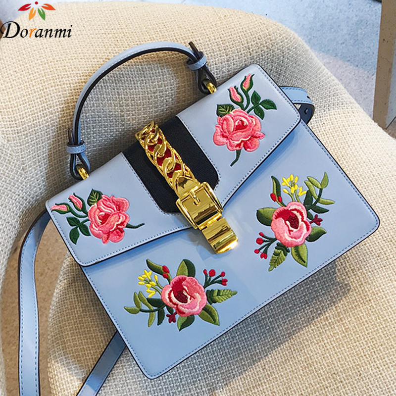DORANMI Luxury Brand Flower Flap Bag Women High Quality PU Leather Crossbody Shoulder Bag Square Embroidery