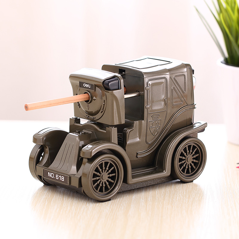 1 Pc Jalopy Pencil Sharpeners Boy's Gift Plastic Hand Crank Pencil Cutting Machine 0.5-1.0mm Adjustable Deli 0618