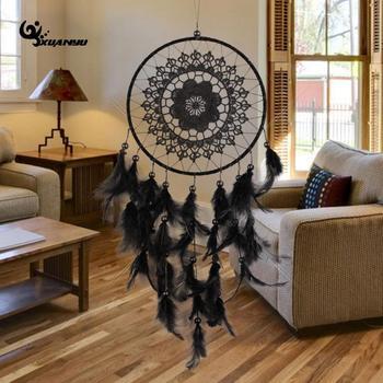 Big Natural Feather Black Color Lace Dreamcatcher Wind Chimes Hanging Decoration Dream Catcher Home Decor
