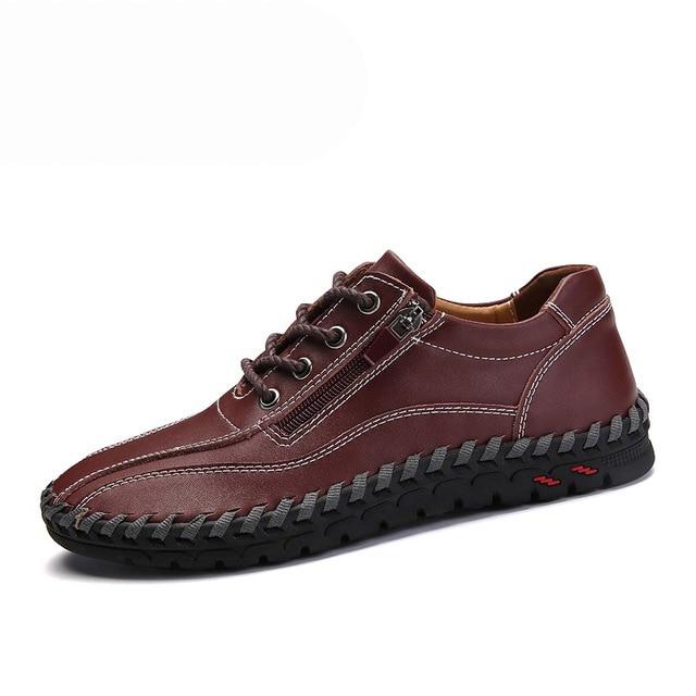 4 Colors Genuine Leather Casual Men Shoes Walking Sneakers Men Casual Shoe Lace Up Mocassins Black Men Loafers Big Size 38-50