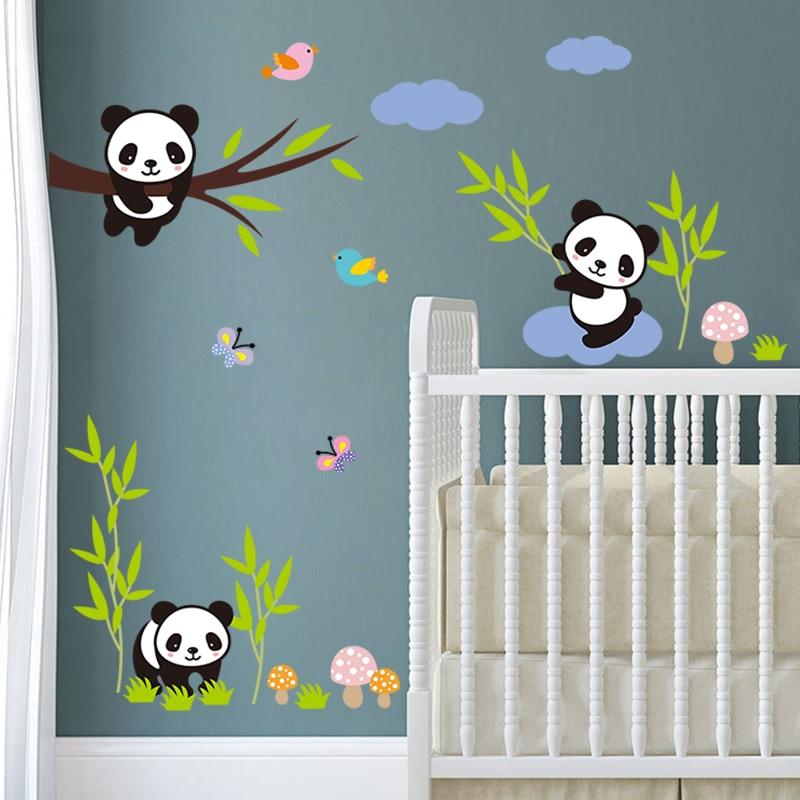 Cute Panda Tree Bamboo Birds White Clouds Wall Stickers