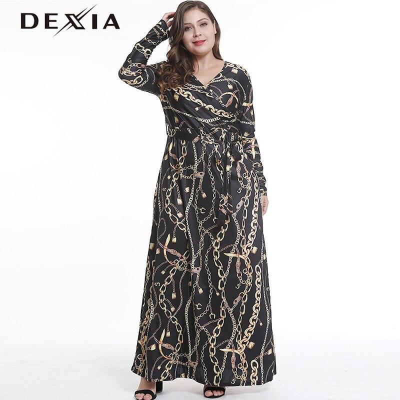 DEXIA bohème imprimé robes femmes à manches longues col en v profond Vadim femme lâche automne ceintures Befree robes robes 10041