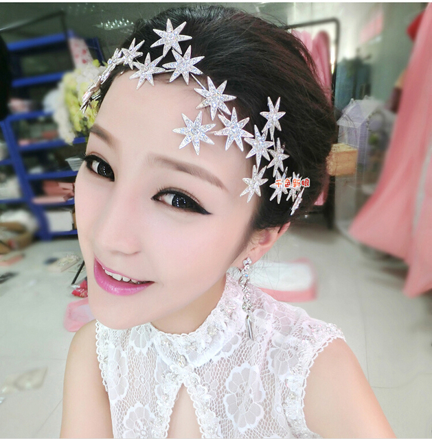 Thousands Of Colors Bridal Headdress Short Hair Frontlet Korean Luxury Wedding Accessories