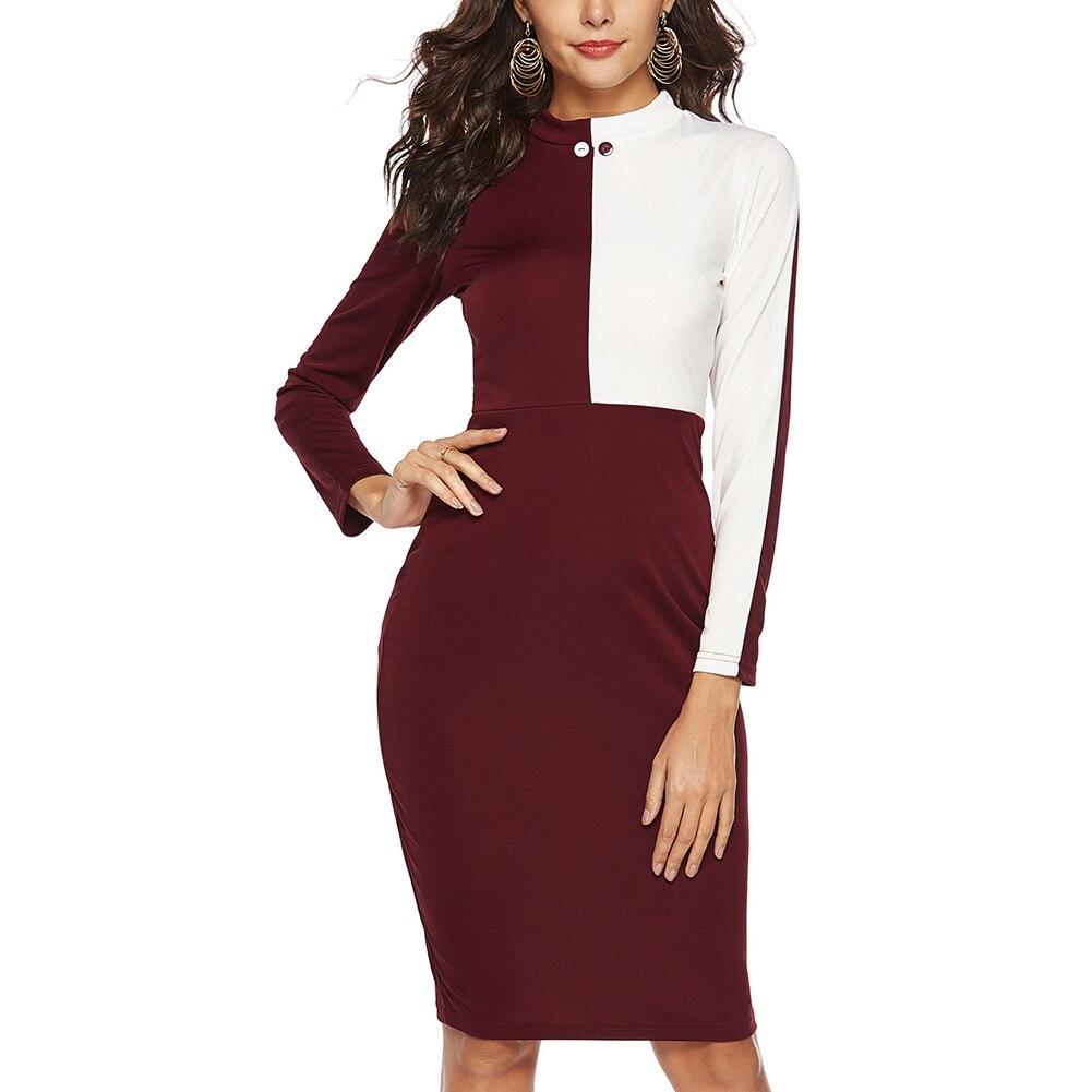 1 Pcs Women Lady Dress Long Sleeve Round Collar High Waist Fashion Slim Clothing -MX8