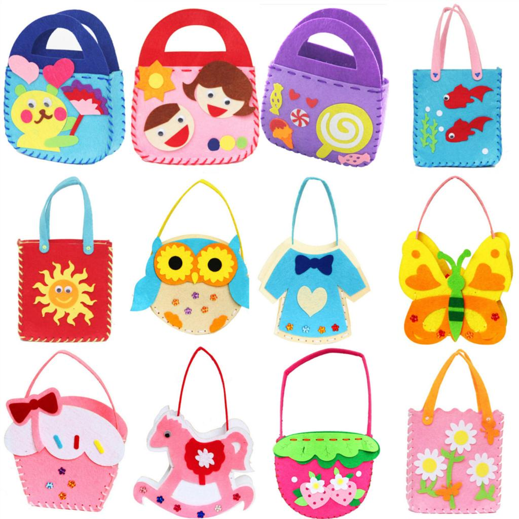 Non-woven Cloth Cartoon Animal Flower Handmade Kids Children DIY Applique Bag Crafts Art Craft Gift Pink Blue tote bag