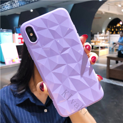 3D Diamond Texture Case For iPhone 6 6s 7 8 Plus X XR XS max Soft Phone Cover for iPhone 7 Transparent Case Ultra Thin Coque