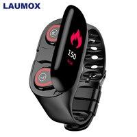 LAUMOX M1 беспроводные Bluetooth наушники с монитором сердечного ритма, стерео наушники, гарнитура, длительное время ожидания, спортивные часы, брас...
