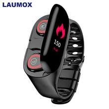 LAUMOX M1 беспроводные Bluetooth наушники с монитором сердечного ритма, стерео наушники, гарнитура, длительное время ожидания, спортивные часы, браслет для мужчин