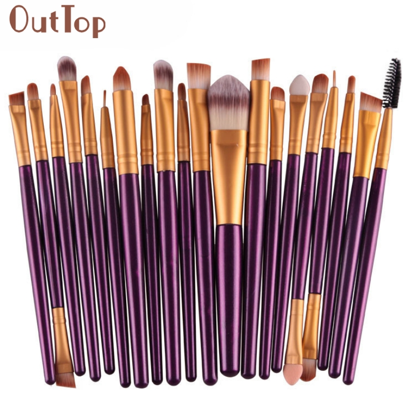 Pretty New Women Pro Purple Colour Wood Handle 20 pcs Makeup Brush Set tools Comestic Toiletry Kit Wool Make Up Brush Set Kit