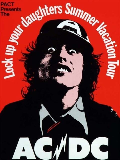 6 choices pop art ac dc rock music band poster vintage retro poster