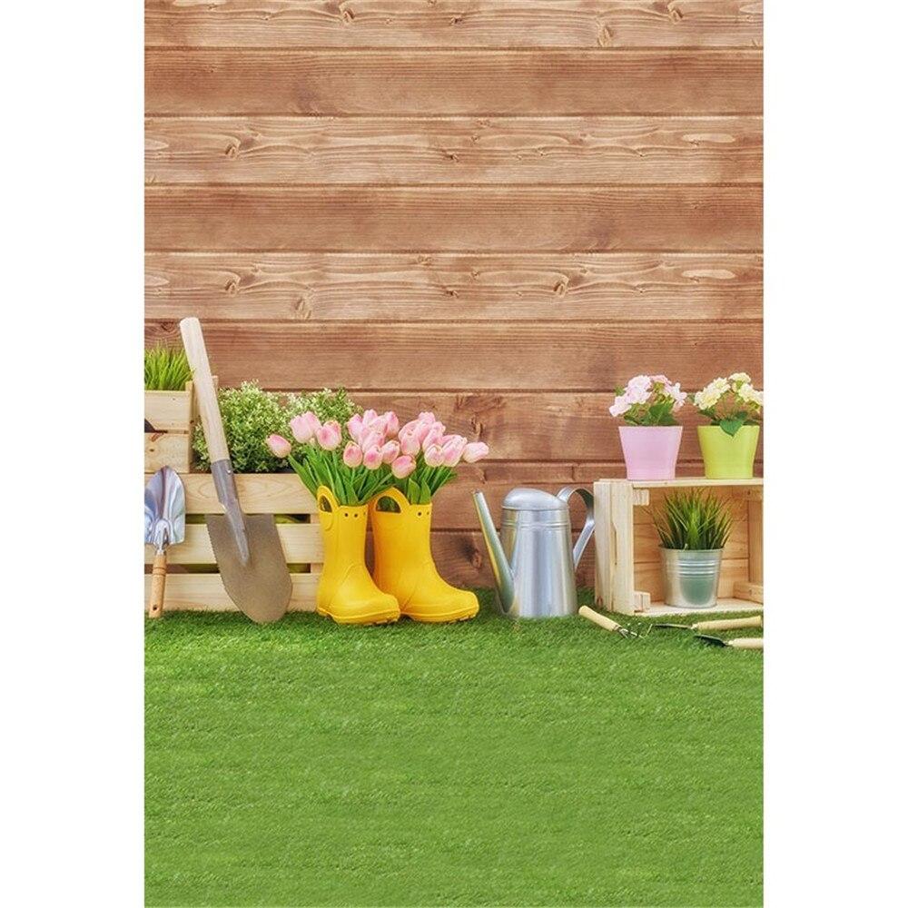 Braun Holz Wand Garten Hintergründe Gedruckt Tulpen Spaten Gießkanne Baby Gärtner Kinder Fotografie Kulissen Grüne Gras Boden