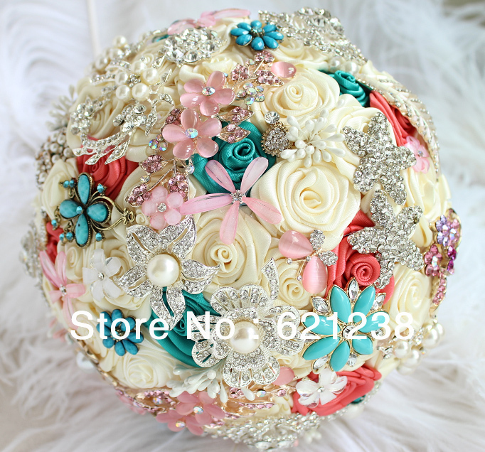 EMS Free Shipping,The Most Beautiful Bride Holding Flowers, Handmade Fabric Brooch Wedding Bouquet Jewelry, Green & Beige.