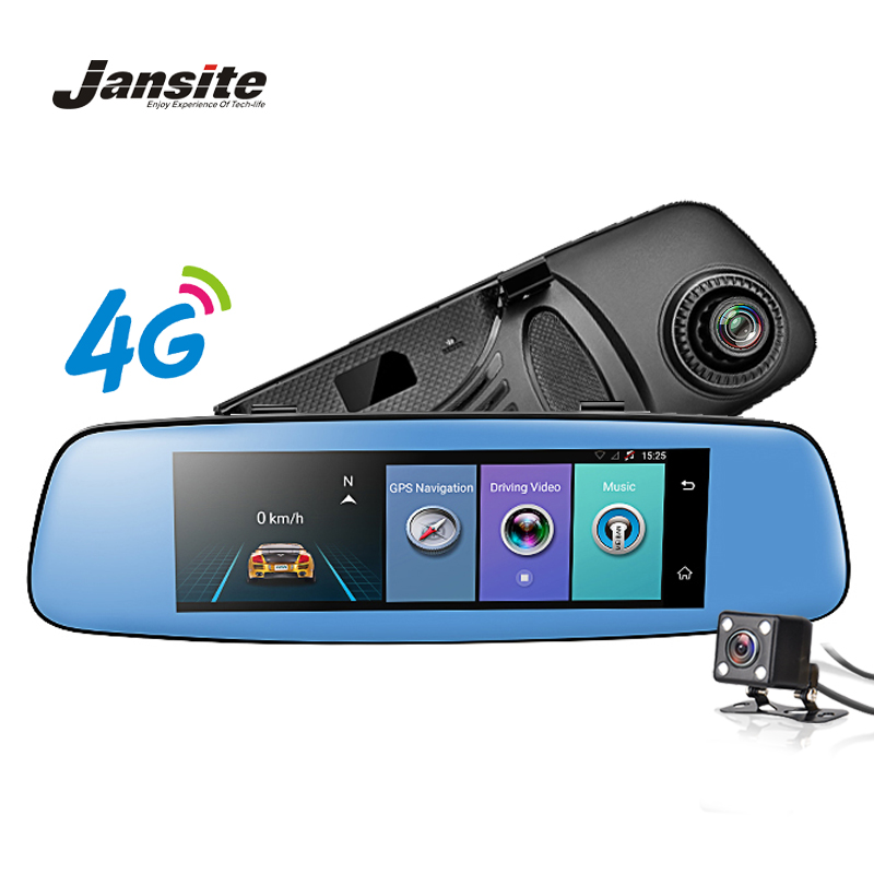Jansite 4G WIFI Car DVR 7 84 inch GPS Touch ADAS Car Camera Remote Monitor  Rear view mirror Android 5 1 Dual lens 1080P dash cam