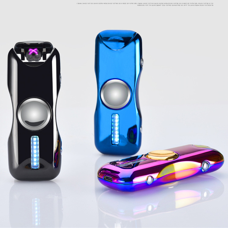Image 3 - 2018 New Dual Arc Hand Spinner Lighter Gyro Toy Fingertip Lighter USB Charging Windproof Lighter Rechargeable Electronic Plasma-in Cigarette Accessories from Home & Garden