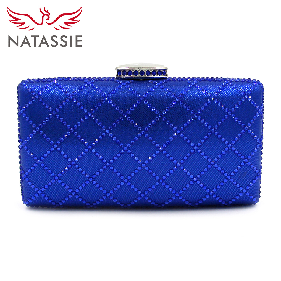 NATASSIE 2017 Fashion Clutches Blue Party Bags Pink Wedding Bag With Chain Black Metal Box Clutch Designer Diamond Handbags party box black