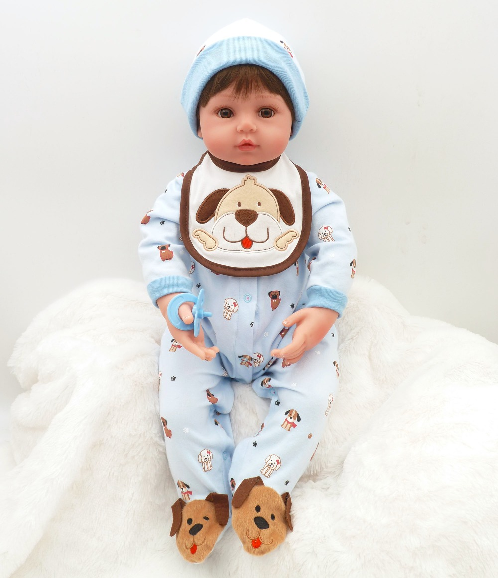 wear a hat Reborn Baby Doll Lifelike Bebe Boneca Soft coth boy in Cartoon puppy clothes fashion 24 on Christmas Gift For girlswear a hat Reborn Baby Doll Lifelike Bebe Boneca Soft coth boy in Cartoon puppy clothes fashion 24 on Christmas Gift For girls