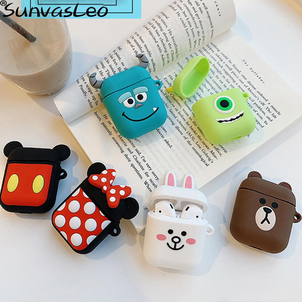Cartoon Wireless Bluetooth Earphone Case For Apple AirPods Silicone Charging Headphones Cases For Airpods Protective Cover in Phone Pouches from Cellphones Telecommunications