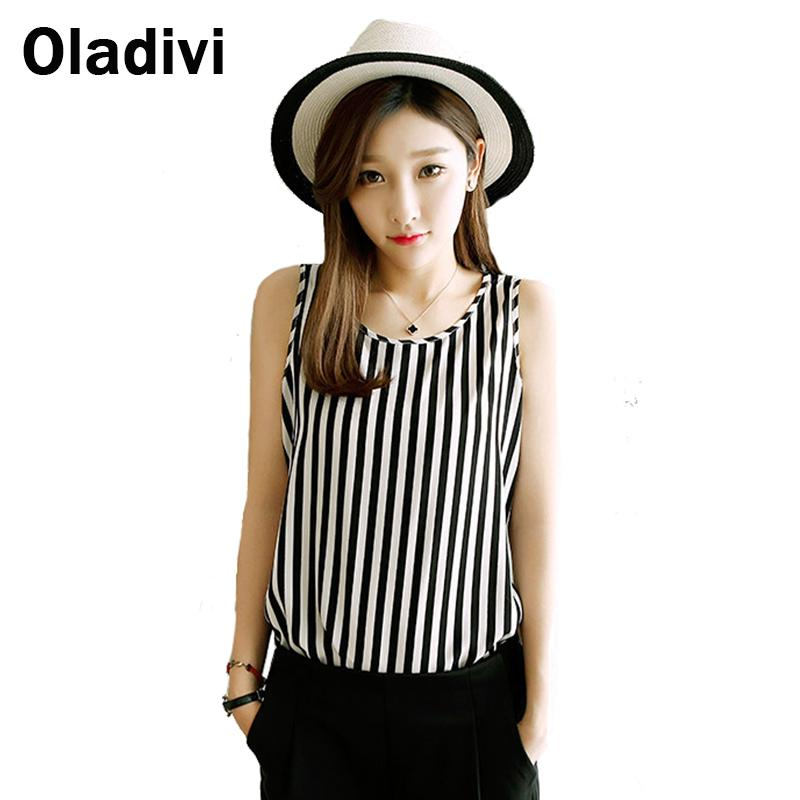 Black White Striped Tops Women 2018 Summer Style Vest Tank Shirt Plus Size Clothing 5XL Coletes Feminino Camiseta Blouses Shirts