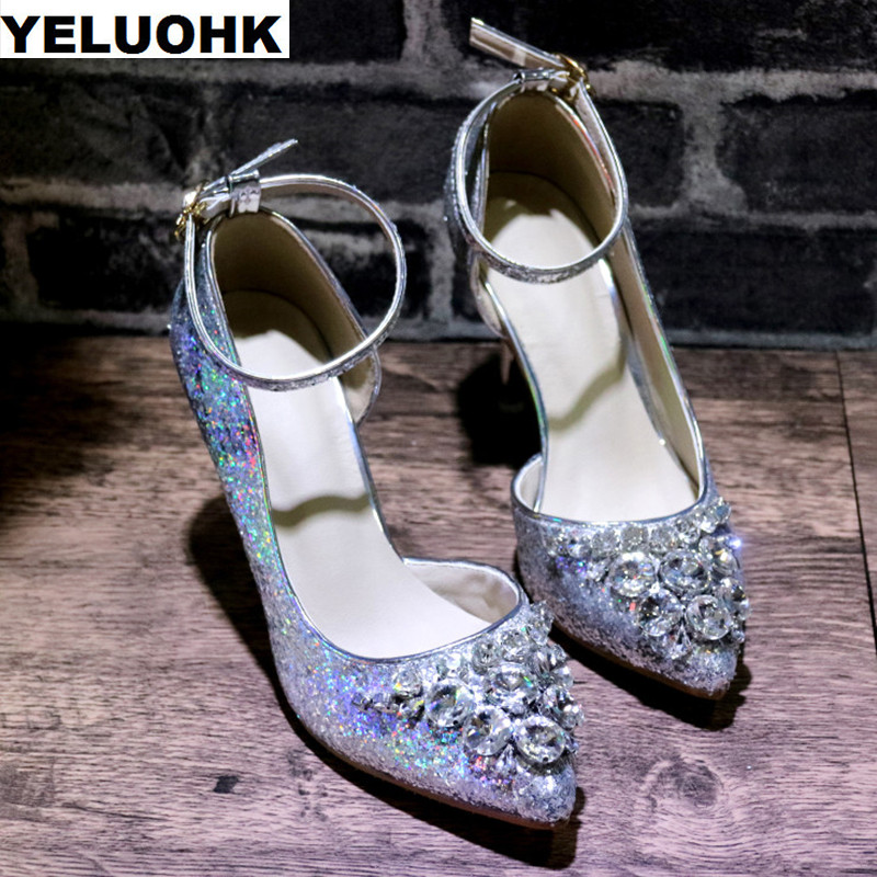 2018 Rhinestone Shoes Women High Heels Fashion Wedding Shoes Woman Pumps With Crystal Bridal Shoes Silver Party Shoes