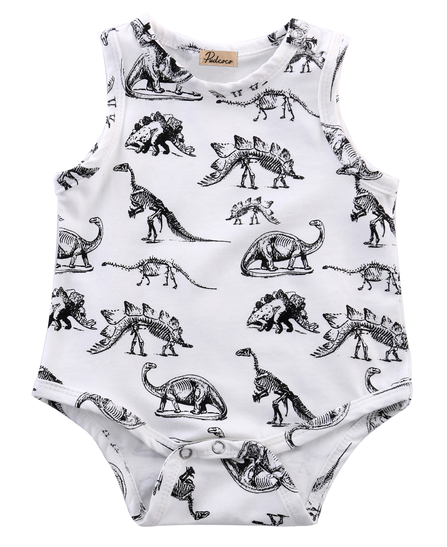 summer romper 2016 wholesale dropshipping infant baby girl boy clothes dinosaurs printed sleeveless romper cotton outfits US AU 3pcs set newborn infant baby boy girl clothes 2017 summer short sleeve leopard floral romper bodysuit headband shoes outfits
