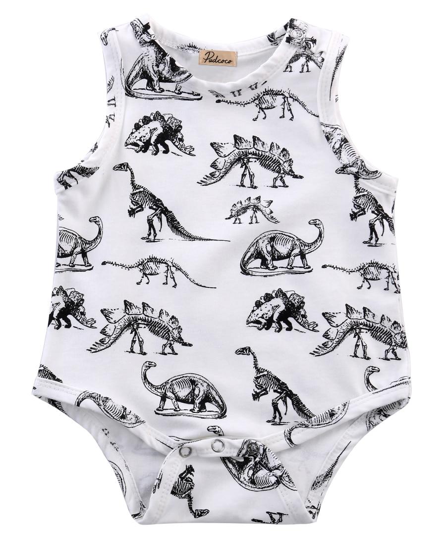 где купить  summer romper 2016 wholesale dropshipping infant baby girl boy clothes dinosaurs printed sleeveless romper cotton outfits US AU  по лучшей цене