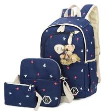 Новинка 2017 года 3 шт./компл. холст с цветочным принтом рюкзак женщины школьные сумки для девочек-подростков милые сумки книгу студенты рюкзаки женские