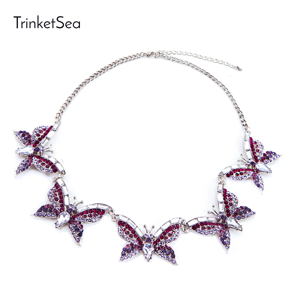 TrinketSea Trendy Charm Purple Butterfly Statement Necklaces For Women Fashion Jewelry Rhinestone Shining Chokers Necklaces цены