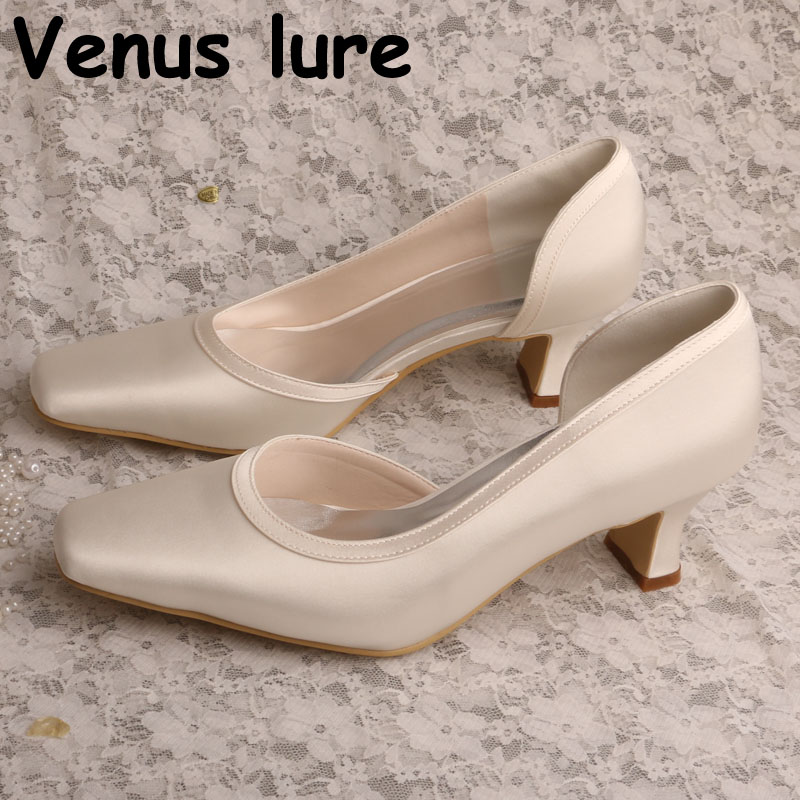 Chunky Heel Mother of the Bride Shoes Wedding Ivory Satin Women Court Pumps  women wedding shoes f0d6443a23fe