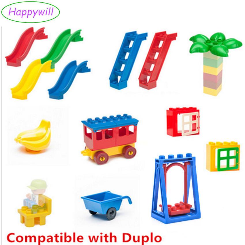 Happywill Big Building Blocks Accessory Bricks Doll Animals Bridge Cart Slide Ladder Swing Compatible Baby Toys Gift