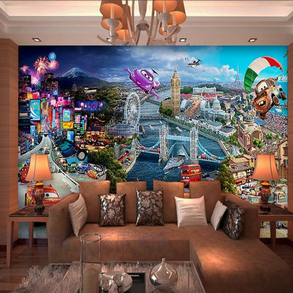 Custom cars schilderkunst een grote mural 3d behang cartoon stad ...