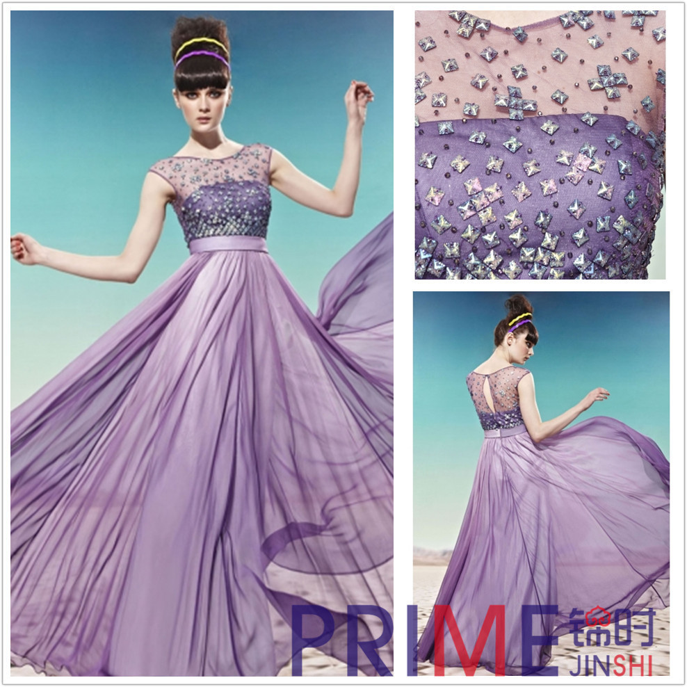 PRIME JS 2014 Salable Luxurious O Neck Prom Dresses Chiffon Dress ...