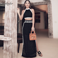 Halinfer 2018 New summer women dress sexy bodycon halter neck lace 2 piece bandage dress celebrity party black dresses vestidos