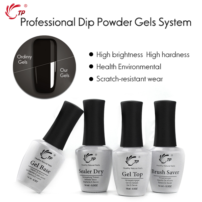 TP 14ml Brush Saver Activator Gel Base&Top For Nail Dip Powder Natural Dry Without Primer&Lamp Sealer Dry Cure Dipping Powders 6in1 dipping powder top base coat activator kit dip system no uv light needed fast dry dip powder nails starter kit