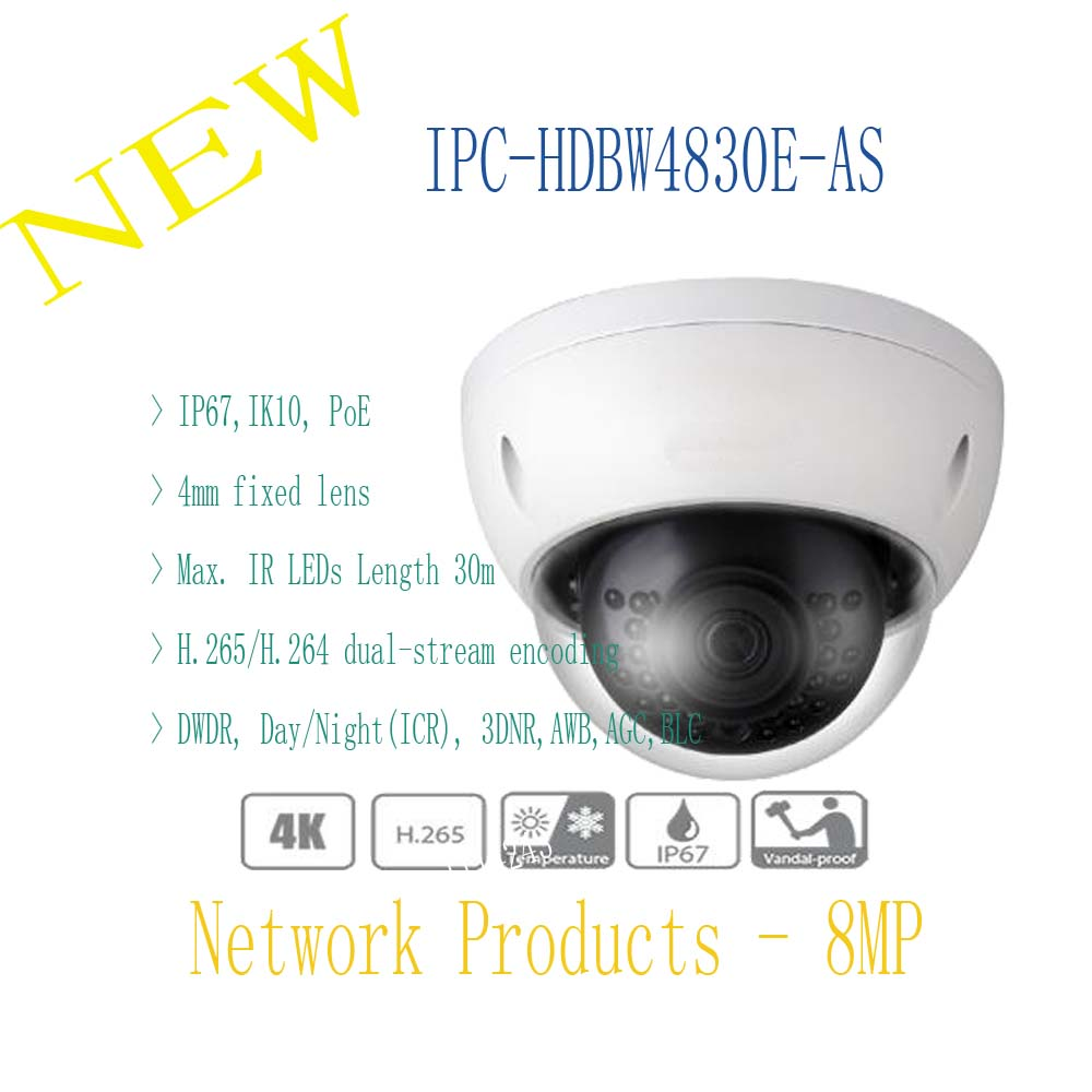 DAHUA Security IP Camera CCTV 8MP IR Mini-Dome Network Camera IP67 IK10 with POE Without Logo IPC-HDBW4830E-AS free shipping dh security ip camera 2mp 1080p ir mini dome network camera ip67 ik10 with poe without logo ipc hdbw4231f as