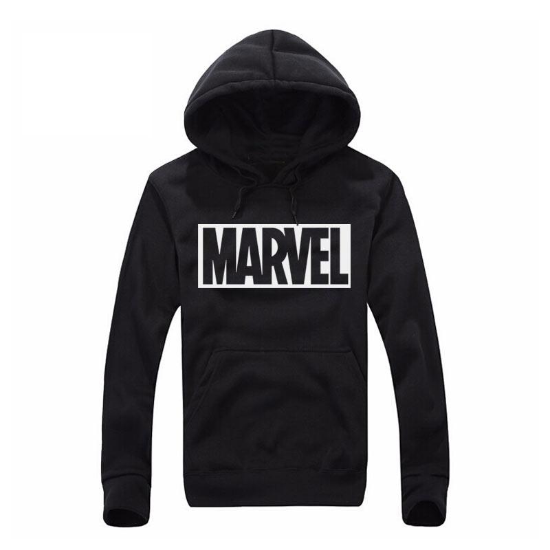 2017 New Marvel Letter Print Black Sweatshirt Men Hs