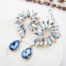 2016 popular jewelry fashion horse eye parts earring Flower goldsilver Shaped big Crystal drop Earrings for wmen #E092