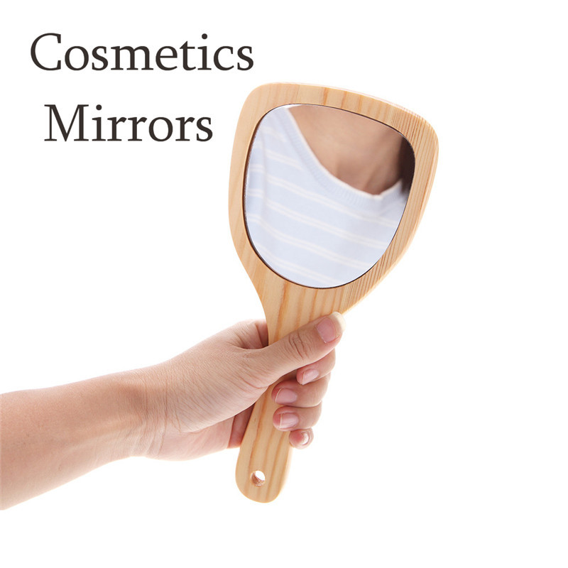 1pcs Cute Wood Mini Plastic Vintage Hand mirrors Makeup Vanity Mirror Rectangle Hand Hold Cosmetic Mirror With Handle For Gifts