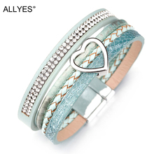 ALLYES Heart Charm Leather Bracelets for Women Femme Braided Rope Wide Multilayer & Bangles Bracelet Female Jewelry