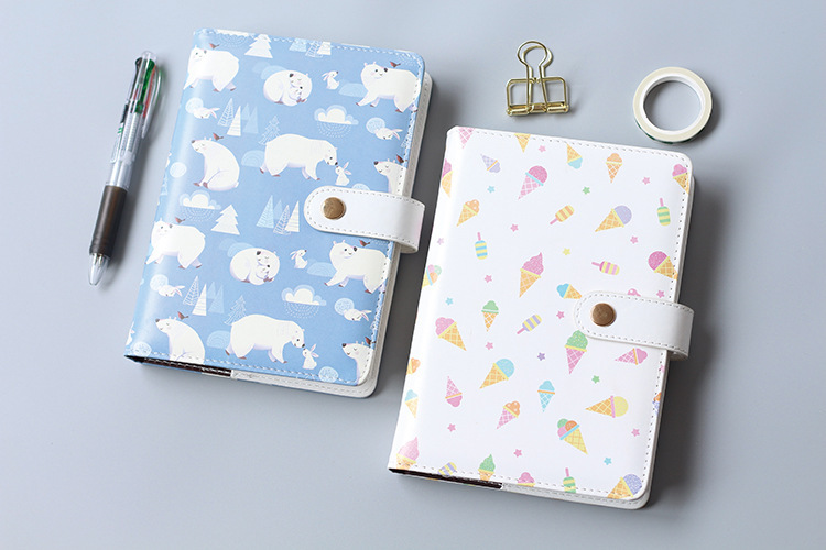A5 Faux Leatherette Polar Bear Soft Notebook, 114Sheets Colored Fix Refill Notebook Daily Planner Notepad