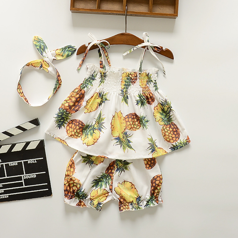 2017 Summer Kids Sets Bohemian Print Pineapple Fruits Pattern Strap Tops+Shorts With Hair Band Small Gifts Infant Baby Girl Suit радионяня summer infant summer infant радионяня babble band 29556