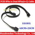10 PCS Nova GPU PCIE de 8 Pinos Macho PARA 8Pin (6 + 2) PCI-E Masculino Adaptador de Extensão De Energia cabo 18AWG 60 CM + 20 CM