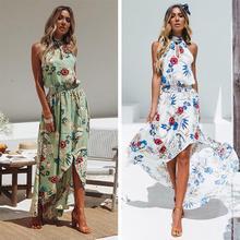 Yfashion Summer Women Bohemian Style Fashion Printing Sleeveless Irregular Hem Beach Long Dress