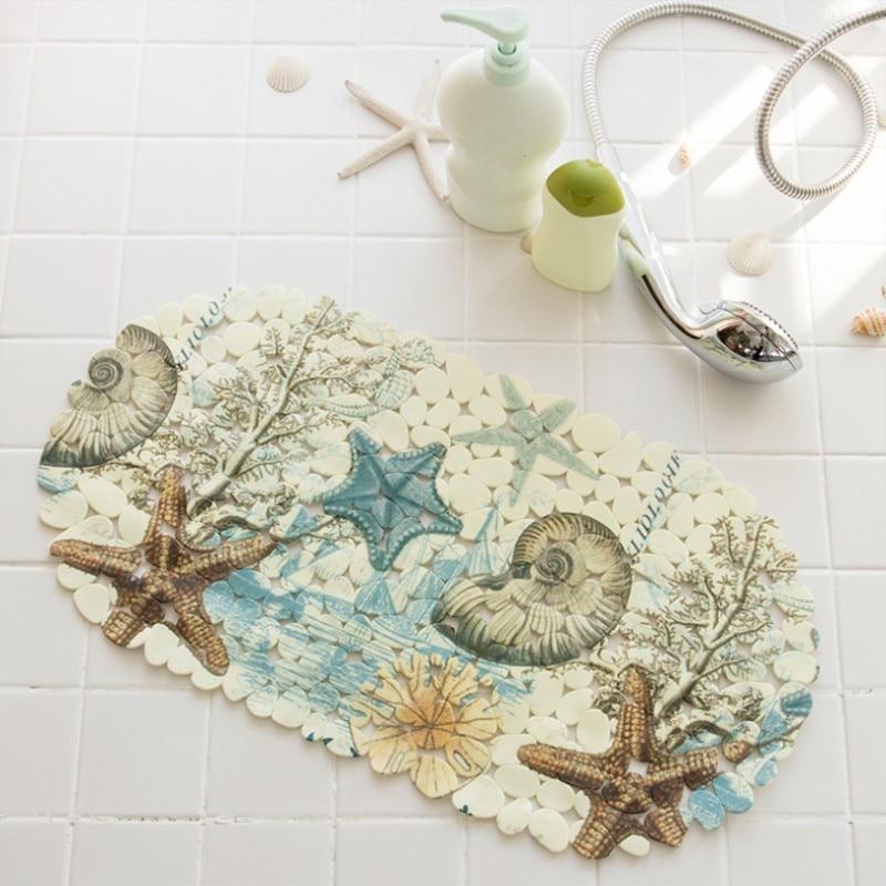 High Quality Elegant Classic Beach Bathroom Pattern PVC Non- Slip Bathmat Insert Bathtub Mat Shower Mat
