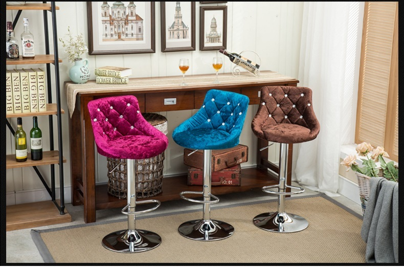 Bar Luxury lift chair Flannel seat blue color free shipping cafe house stool design retail wholesale continental bar chairs rotating chair lift back bar stool reception tall silver beauty makeup chair