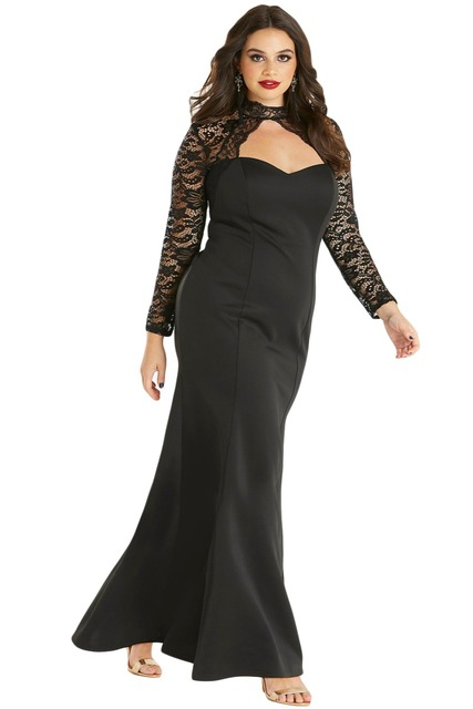 Black Sheer Lace Long Sleeve Plus Size 5XL 4XL Party Dress Ladies Fashion Cutout Accents High Neck and Open Back Elegant Dresses 1