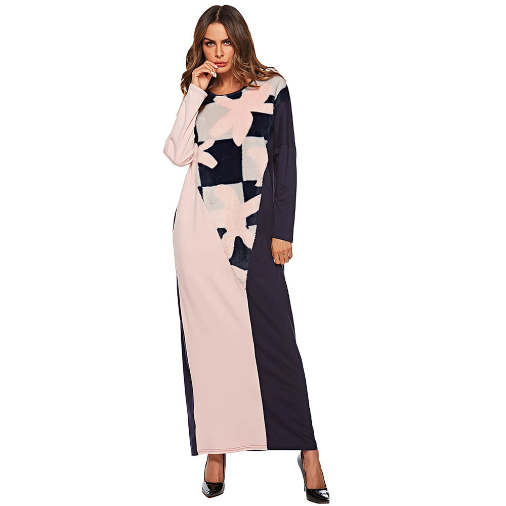 Muslim Abaya Print Faux Fur Maxi Dress Kimono Patch Designs Long Robe Gowns Loose Jubah Ramadan Middle East Islamic Clothing