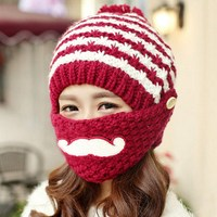 9 Colors Winter Women Warm Knitted Outdoor Beard Face Mouth Mask Beanie Bobble Hat
