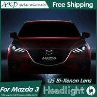 AKD Araba Styling Mazda 3 Farlar için 2014-2016 Yeni Mazda3 Axela LED Far DRL Bi Xenon Mercek Yüksek Düşük Işın Park Sis lamba